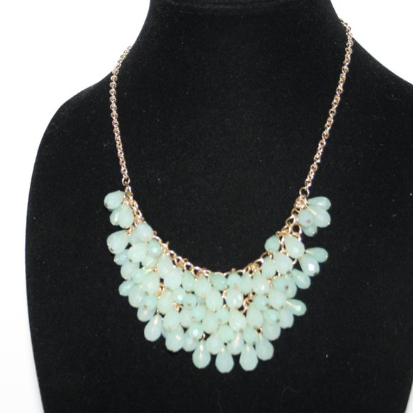 Beautiful gold and green statement necklace